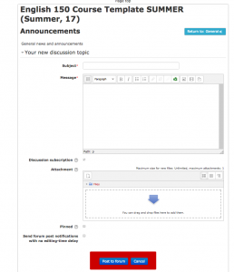 Add a subject line, message, and any attachments that you want in the announcement.