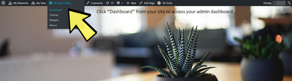 Visit dashboard from site