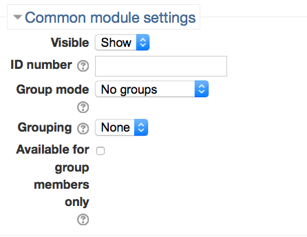Screenshot 4: The Common module settings is a dropbar that can be found just below the options page area.