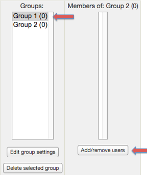 "Screenshot 5: The groups you create will be in the groups box column on the left. The add/remove users button is located right under the ""Members of:"" box."