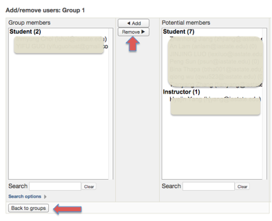 Screenshot 6: The add and remove buttons are located between the two columns. The back to groups button is located right below the group members box.