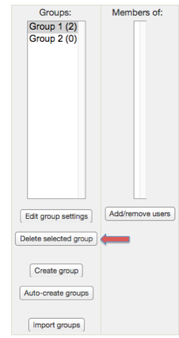 "Screenshot 8: The ""delete selected groups"" button is located right under the ""edit groups settings"" button."