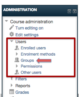 "Screenshot 1: The groups link can be found in the ""Administration"" box, under the users subheading."