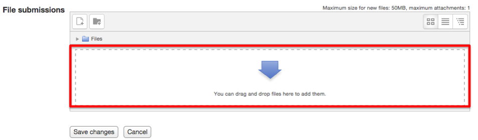 Screenshot 4: Drag items to the file drop area with the blue arrow.