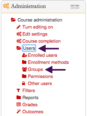 "Screenshot 4: ""Groups"" is found under the ""users"" folder in the ""administration"" box."