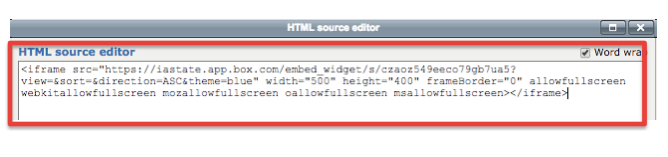 Screenshot 10: The HTML source editor will bring up a box where you may past the embed code.