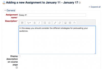 Adding an assignment screenshot 4