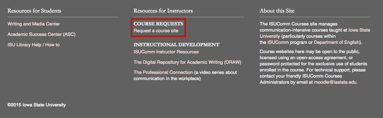 "Screenshot 2: The course Requests link is right uner the ""Resources for Instructors"" column."