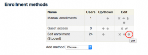 Screenshot 2: The gear button is found in the edit column of the self-enrollment row box.