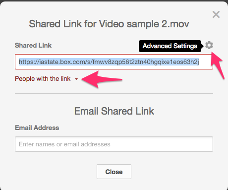 "Screenshot 2: The advanced settings button is the little gear icon at the top right corner of the shared link text field. The ""people with the link"" dropdown link is right below this text field."