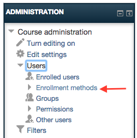 Screenshot 1: Enrollment methods is found under the users tab in the administration box.