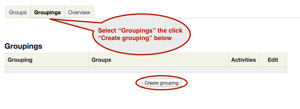 Groups and groupings screenshot 2