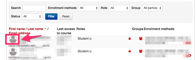 Screenshot showing how to choose a student to log in as