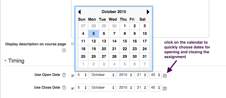 Screenshot of adding date/time.