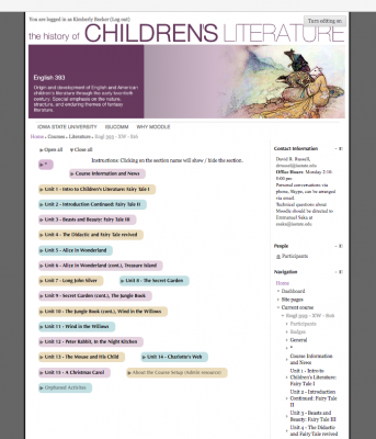 This is an example of a layout customized for a literature course.