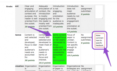 clickable grading rubric screenshot 4